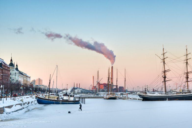 Набережная Хельсинки зимой