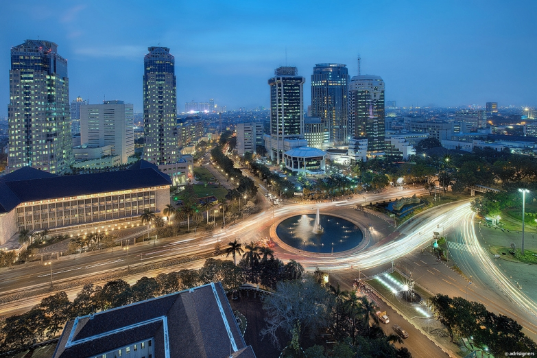 Панорама ночной Джакарты