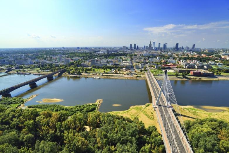 Вид сверху на предместья Варшавы